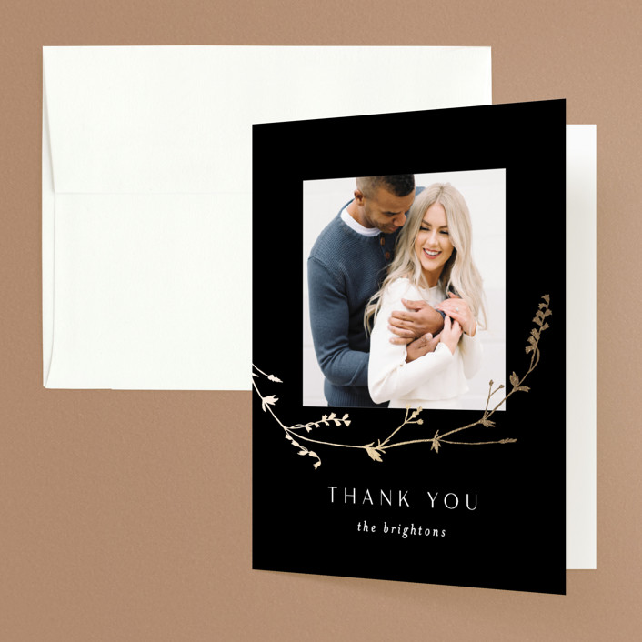 """""""Vine Wrap"""" - Foil-pressed Folded Thank You Card in Cotton by Amy Kross."""