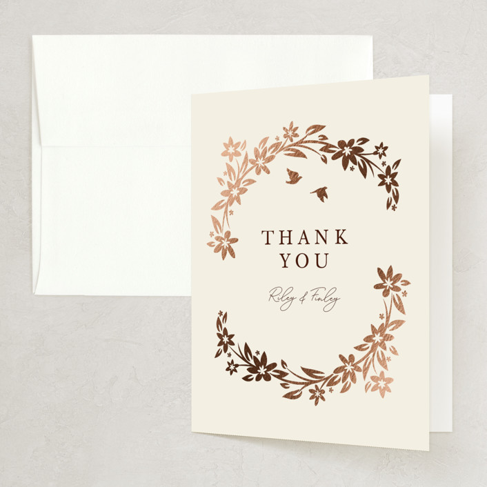 """""""In the country"""" - Rustic Foil-pressed Folded Thank You Card in Chestnut by Paper Sun Studio."""