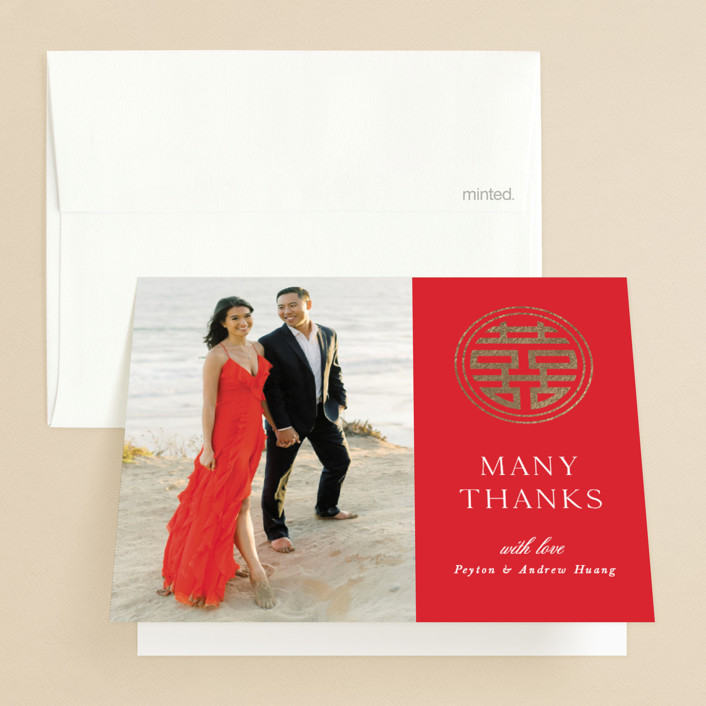 """""""HAPPINESS x 2"""" - Foil-pressed Folded Thank You Card in Ruby by Melanie Kosuge."""
