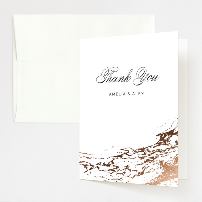 """Classic Splash"" - Foil-pressed Folded Thank You Card in Navy by kbecca."