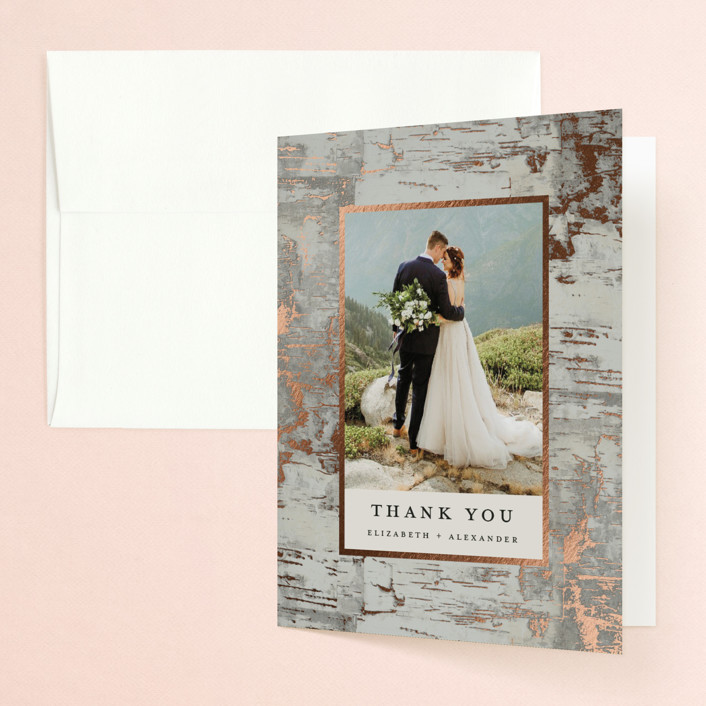 """""""Gilded birch bark"""" - Rustic Foil-pressed Folded Thank You Card in Clay by Heather Schertzer."""