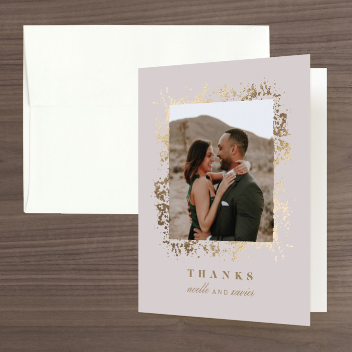 """""""Patina Frame"""" - Foil-pressed Folded Thank You Card in Light Mauve by Ana Sharpe."""