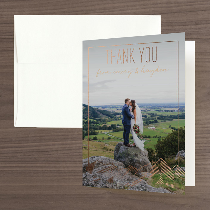 """Mountain Vista"" - Modern Foil-pressed Folded Thank You Card in Mist by Rebecca Daublin."