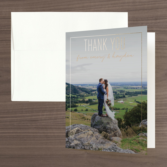 """Mountain Vista"" - Modern Foil-pressed Thank You Cards in Mist by Rebecca Daublin."