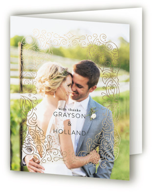 Ornate Frame Foil-Pressed Thank You Cards
