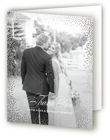 This is a portrait preppy, black Wedding Thank You Cards by Design Lotus called Promise with Foil Pressed printing on Standard Cover in minibook fold over (blank inside) format. Confetti dot border with elegant classic type