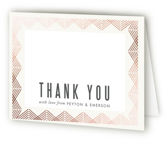 This is a landscape geometric, vintage, pink Wedding Thank You Cards by Kampai Designs called Shine with Foil Pressed printing on Standard Cover in minibook fold over (blank inside) format. An elegant rose gold wedding invitation with an art deco ...
