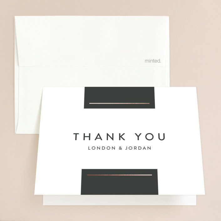 """""""Simply Dapper"""" - Preppy Foil-pressed Thank You Cards in Licorice by Jessica Williams."""