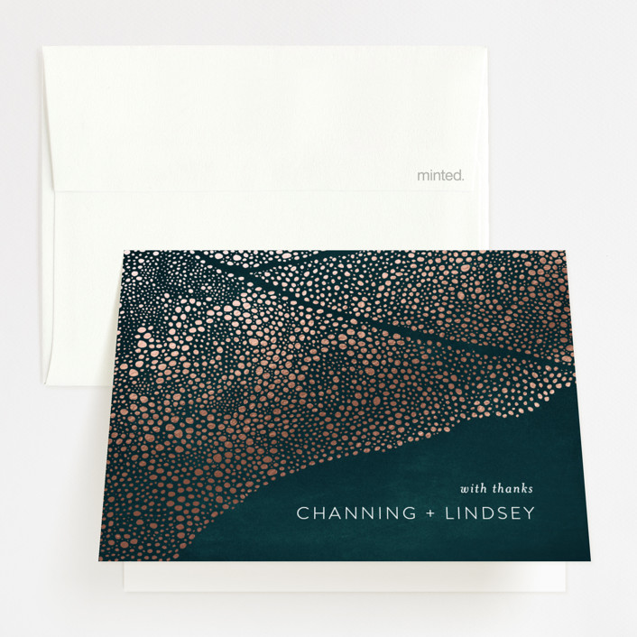 """""""The Milky Way"""" - Bohemian Foil-pressed Thank You Cards in Emerald by Phrosne Ras."""