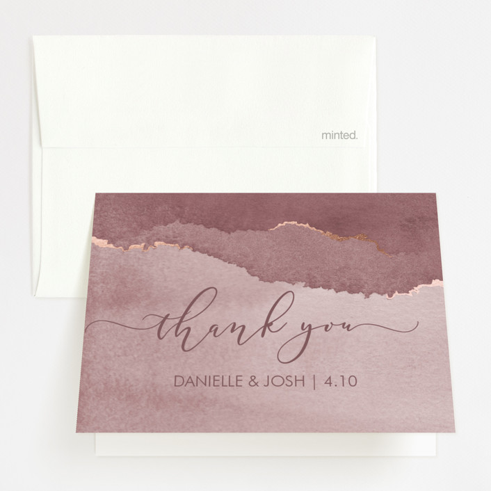 """""""Dreamy"""" - Foil-pressed Folded Thank You Card in Dusty Blue by Danielle Cole."""
