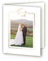 This is a white wedding thank you card by Leah Bisch called Reflection with foil-pressed printing on strathmore in standard.