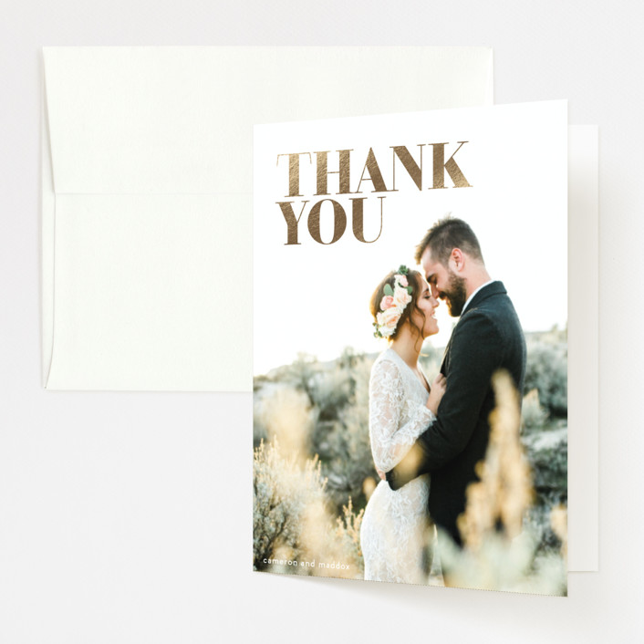 """Bold"" - Foil-pressed Thank You Cards in Mauve by Phrosne Ras."
