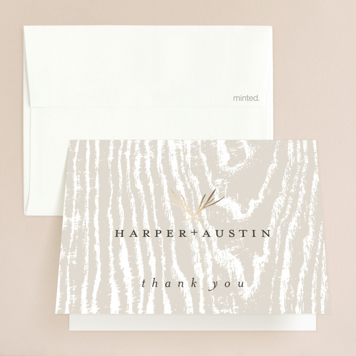 """""""antler"""" - Foil-pressed Folded Thank You Card in Ivory by Robin Ott."""