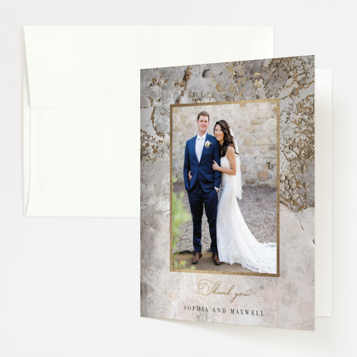 """Sophia"" - Modern Foil-pressed Folded Thank You Card in Latte by Basil Design Studio."