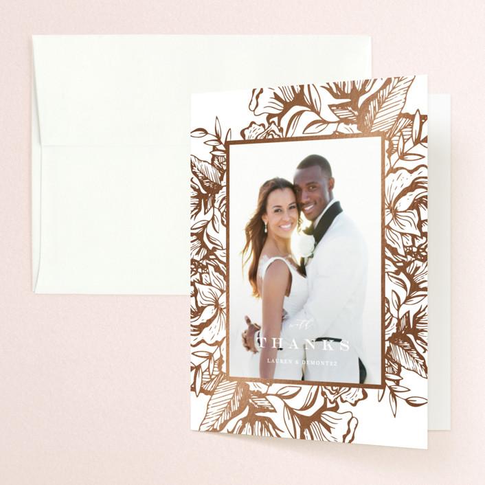 """Beautiful Bouquet"" - Rustic Foil-pressed Folded Thank You Card in Slate by Jennifer Postorino."