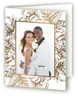 This is a white wedding thank you card by Jennifer Postorino called Beautiful Bouquet with foil-pressed printing on strathmore in standard.