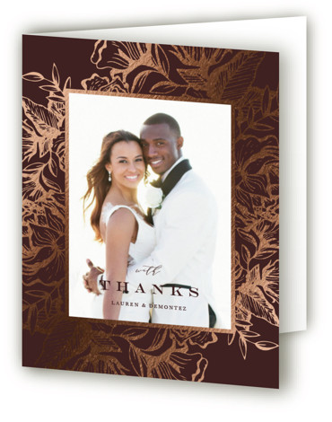 This is a portrait botanical, rustic, brown Wedding Thank You Cards by Jennifer Postorino called Beautiful Bouquet with Foil Pressed printing on Standard Cover in minibook fold over (blank inside) format. An intricate hand drawn floral border surrounds romantic type. ...