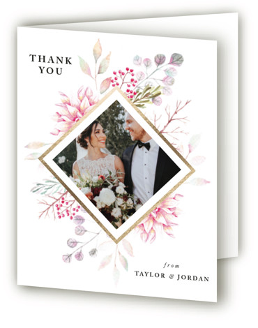 This is a botanical, painterly, pink, colorful, gold Wedding Thank You Cards by Poi Velasco called Ascent with Foil Pressed printing on Standard Cover in minibook fold over (blank inside) format. Painted flowers with diamond foil border
