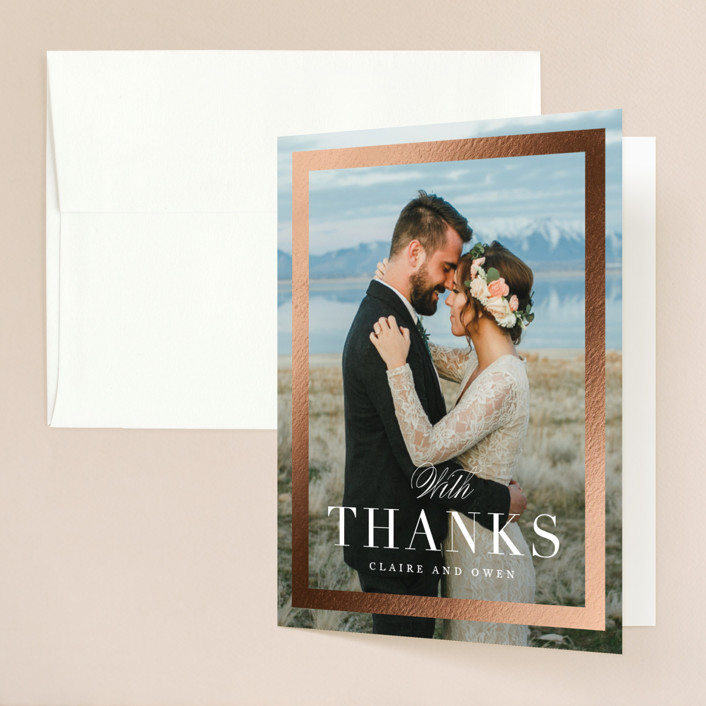 """Deluxe"" - Foil-pressed Folded Thank You Card in Tuxedo by Jennifer Postorino."