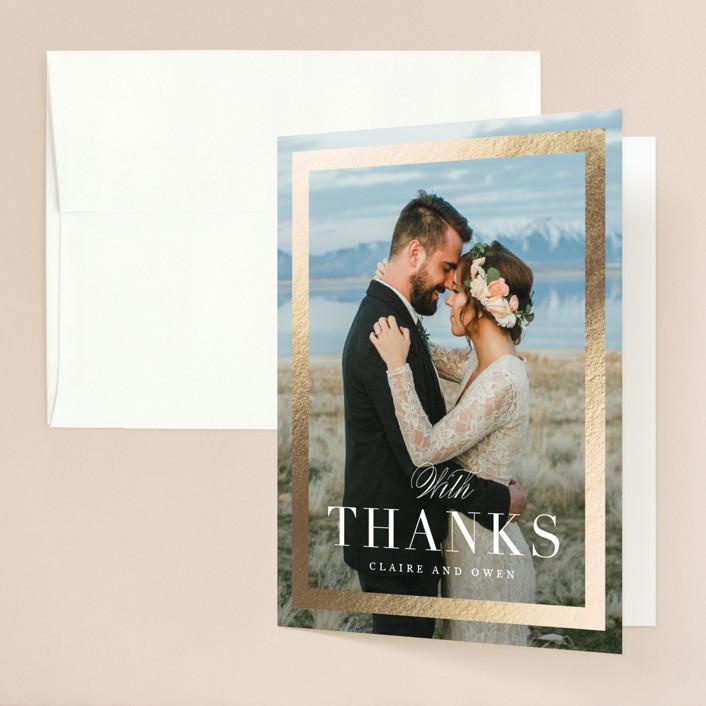 """Deluxe"" - Foil-pressed Folded Thank You Card in Tuxedo by Jennifer Postorino."