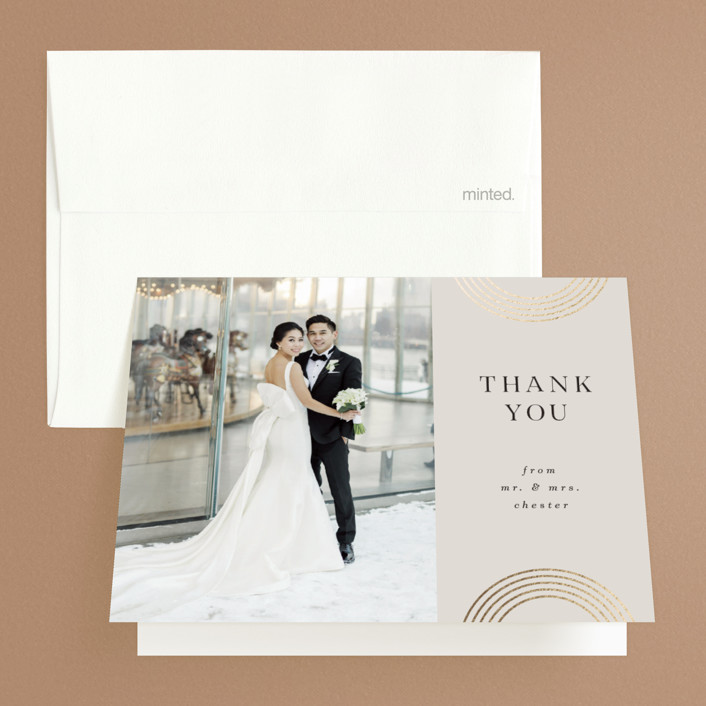 """""""Sparkling Arches"""" - Vintage Foil-pressed Folded Thank You Card in Champagne by Corinne Malesic."""