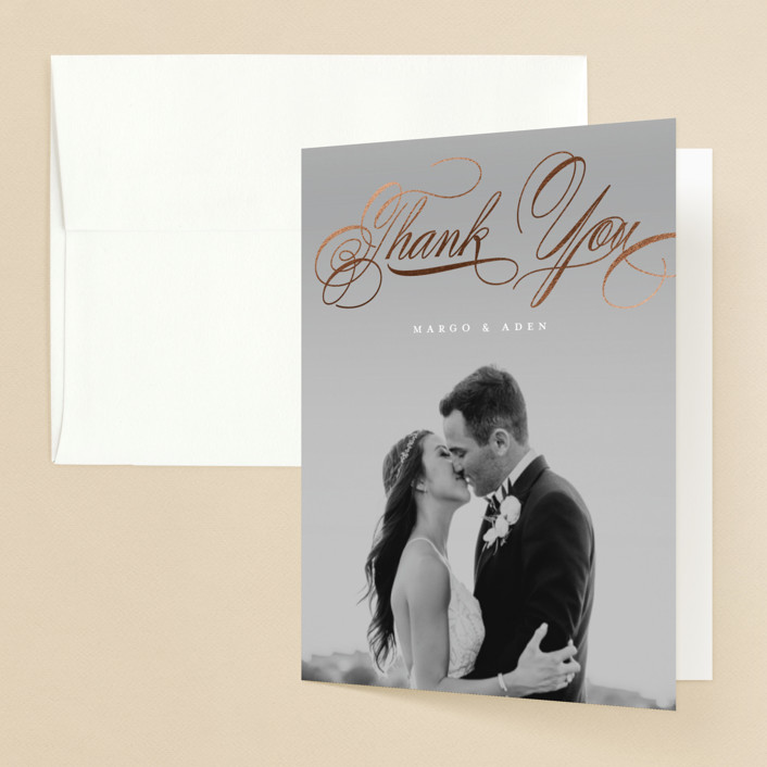"""clean and classic"" - Foil-pressed Folded Thank You Card in Ivory by Laura Hamm."