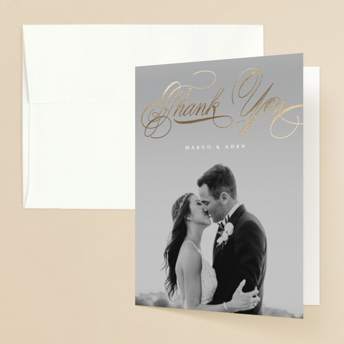 """""""clean and classic"""" - Foil-pressed Folded Thank You Card in Ivory by Laura Hamm."""