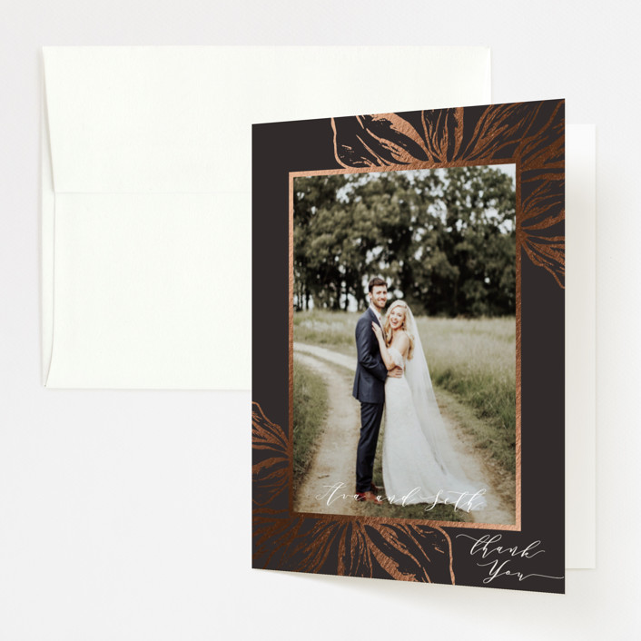 """Forevermore"" - Rustic Foil-pressed Folded Thank You Card in Midnight by Melinda Denison."