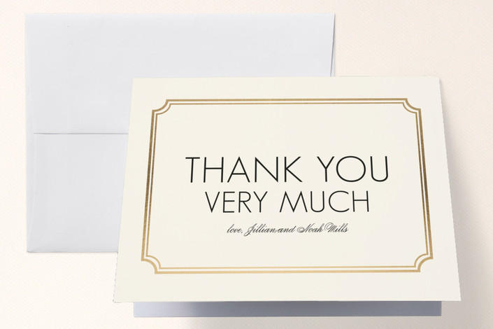 """Modern Classic"" - Modern Foil-pressed Thank You Cards in Gold by annie clark."