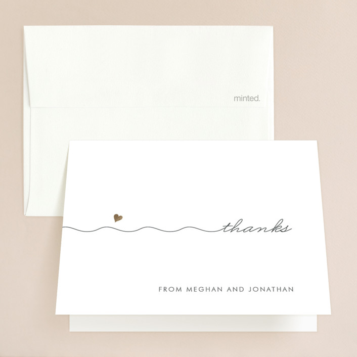 """""""Love Connection"""" - Whimsical & Funny Foil-pressed Thank You Cards in Gold by Kim Dietrich Elam."""