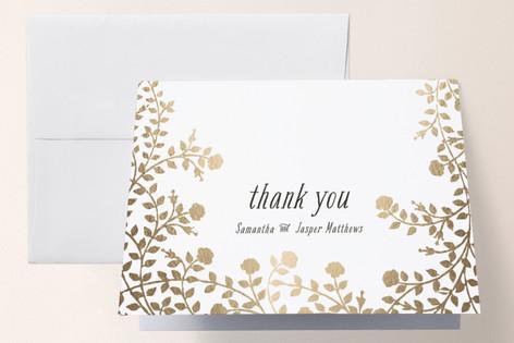 Rose Garden Foil-Pressed Thank You Cards