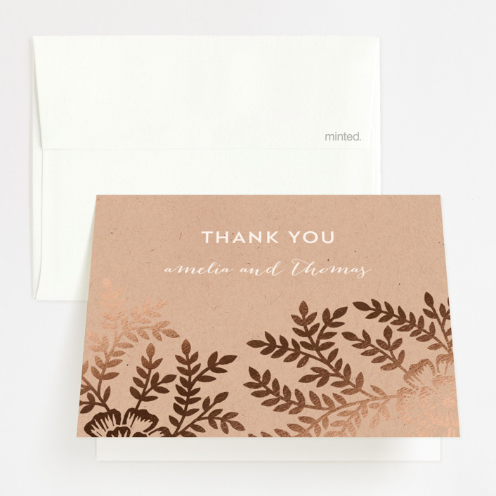 """Leaves and Kraft"" - Rustic Foil-pressed Folded Thank You Card in Warm Kraft by Katharine Watson."