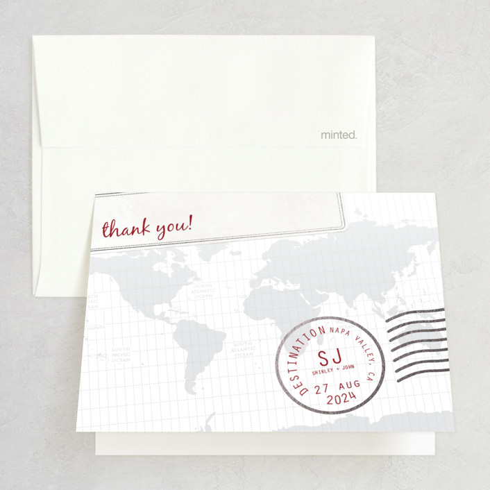 """A Faraway Destination"" - Foil-pressed Thank You Cards in Deep Red by bumble ink."