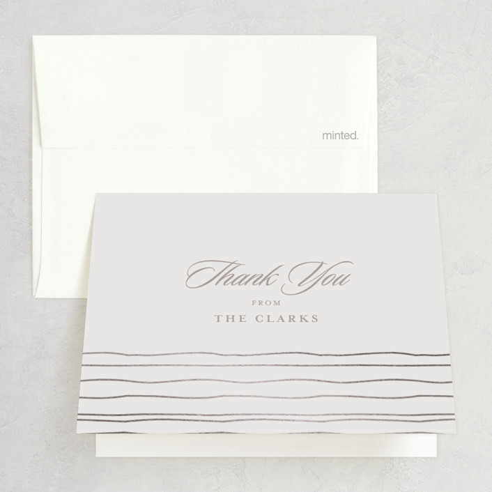 """""""Cascade"""" - Elegant, Formal Foil-pressed Thank You Cards in Mist by Lori Wemple."""