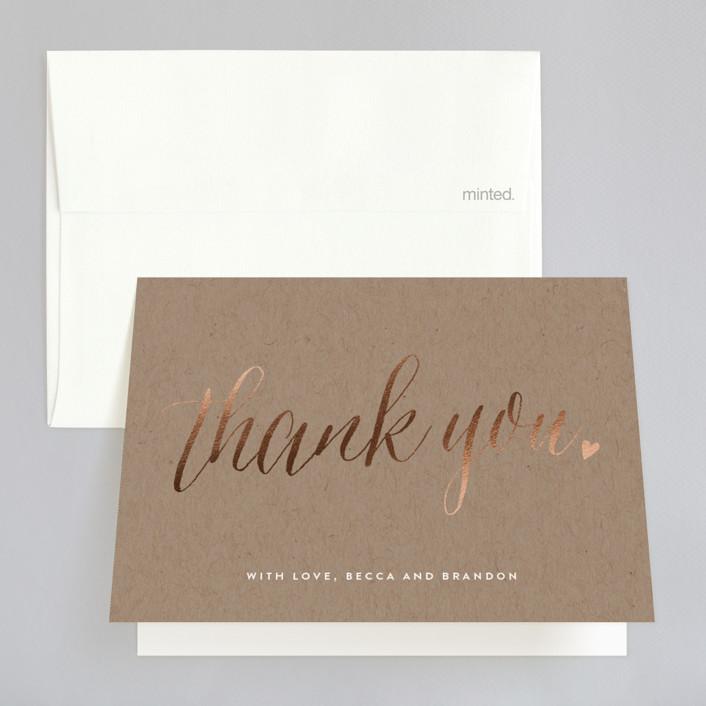 """Charming Love"" - Whimsical & Funny, Elegant Foil-pressed Folded Thank You Card in Kraft by Melanie Severin."