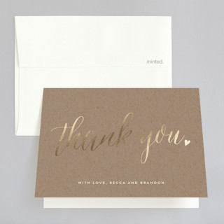 """""""Charming Love"""" - Whimsical & Funny, Elegant Foil-pressed Thank You Cards in Kraft by Melanie Severin."""