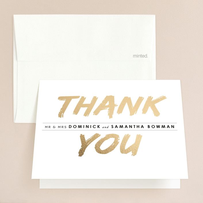 """""""Expressionist"""" - Modern Foil-pressed Thank You Cards in Gold by Design Lotus."""