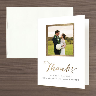 """""""Modern Photo Frame"""" - Modern Foil-pressed Thank You Cards in Gold by Hooray Creative."""