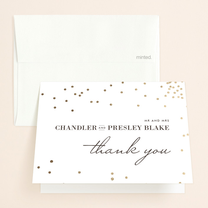 """Thrilling"" - Preppy Foil-pressed Thank You Cards in Gold by Design Lotus."