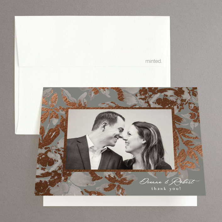 """Wedding Royale"" - Foil-pressed Folded Thank You Card in Steel by Chris Griffith."
