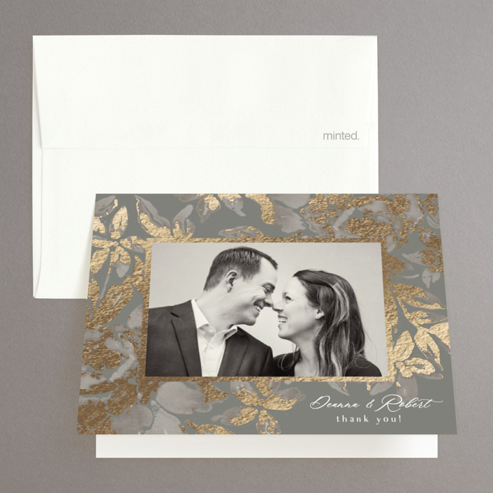 """""""Wedding Royale"""" - Foil-pressed Folded Thank You Card in Steel by Chris Griffith."""