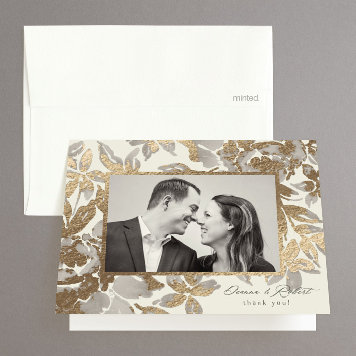 """""""Wedding Royale"""" - Foil-pressed Folded Thank You Card in Ivory by Chris Griffith."""