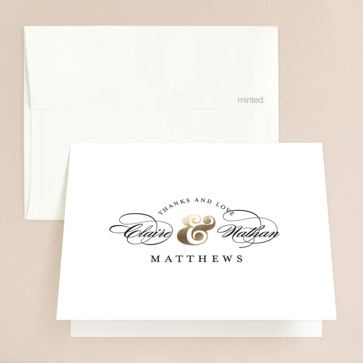 """""""Dapper Amper"""" - Foil-pressed Thank You Cards in Gold by Snow and Ivy."""