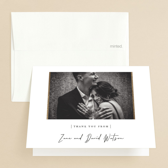 """""""our moment"""" - Foil-pressed Folded Thank You Card in Cloud by Sara Hicks Malone."""