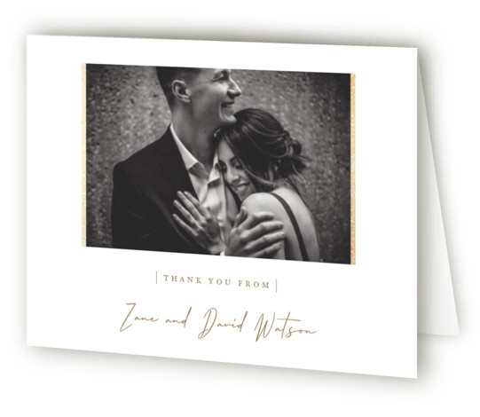 This is a portrait simple and minimalist, brown Wedding Thank You Cards by Sara Hicks Malone called our moment with Foil Pressed printing on Standard Cover in minibook fold over (blank inside) format. Elegant photo wedding invitation