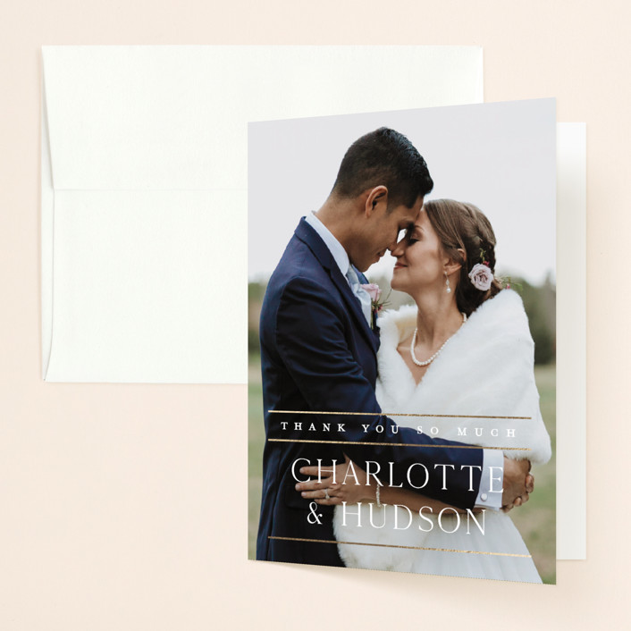 """""""Heard the news"""" - Foil-pressed Folded Thank You Card in Cotton by Stacey Meacham."""