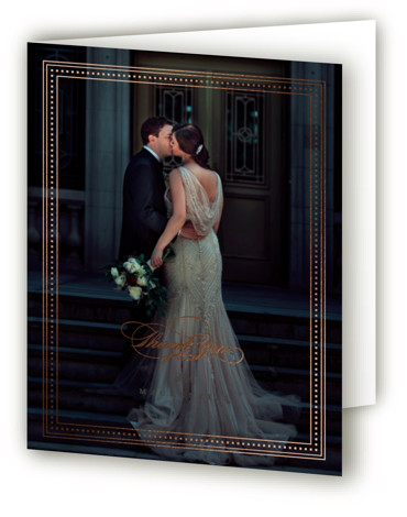 This is a portrait classic and formal, black Wedding Thank You Cards by Everett Paper Goods called Refined Frame with Foil Pressed printing on Standard Cover in minibook fold over (blank inside) format. An elegant frame with simple serif text ...