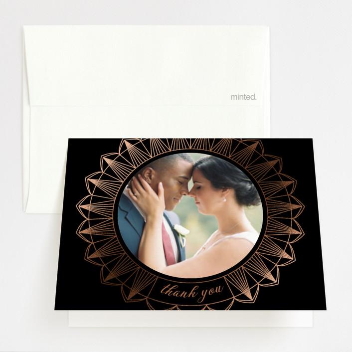"""""""mandala"""" - Bohemian Foil-pressed Folded Thank You Card in Midnight by Char-Lynn Griffiths."""