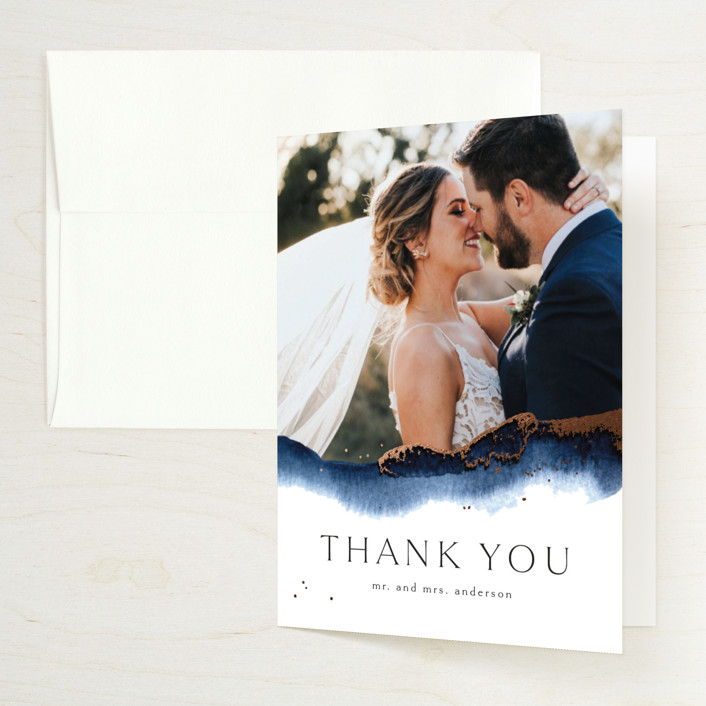 """Indigo"" - Foil-pressed Folded Thank You Card in Storm by Anastasia Makarova."