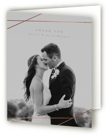 This is a portrait classic and formal, simple and minimalist, grey Wedding Thank You Cards by Emily Betts called Minimal Shine with Foil Pressed printing on Standard Cover in minibook fold over (blank inside) format. This wedding invitation features foil ...